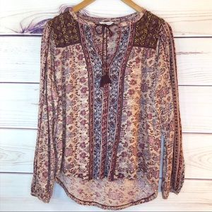 Lucky Brand Beaded Floral Boho Peasant Blouse Top